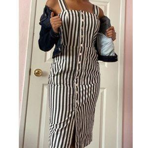 pinstriped midi button up dress